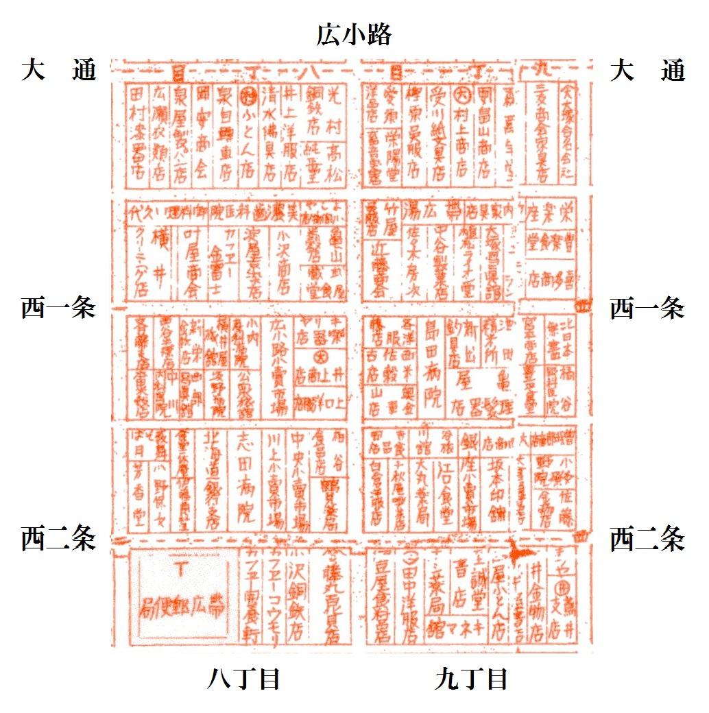 昭和10年5月帯広市(広小路)案内図