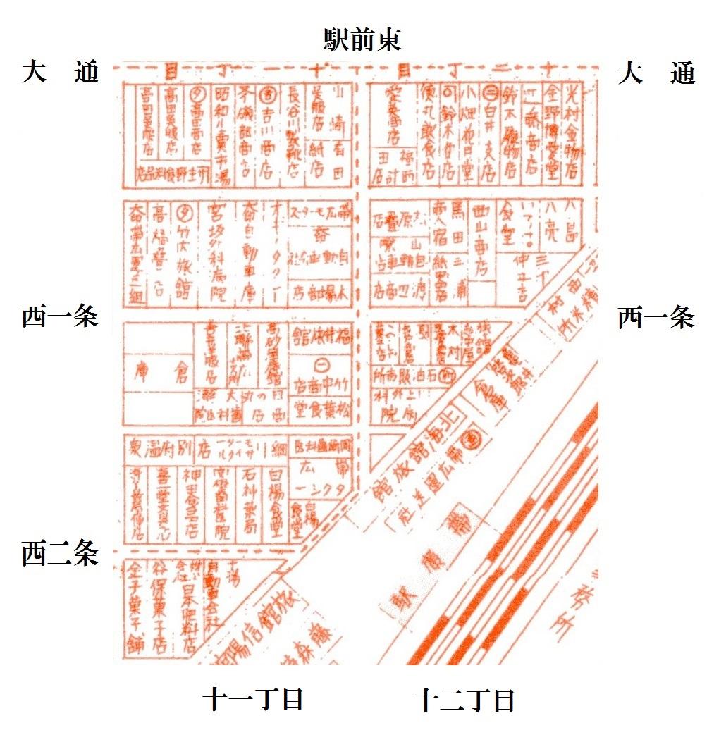 昭和10年5月帯広市(駅前東)案内図