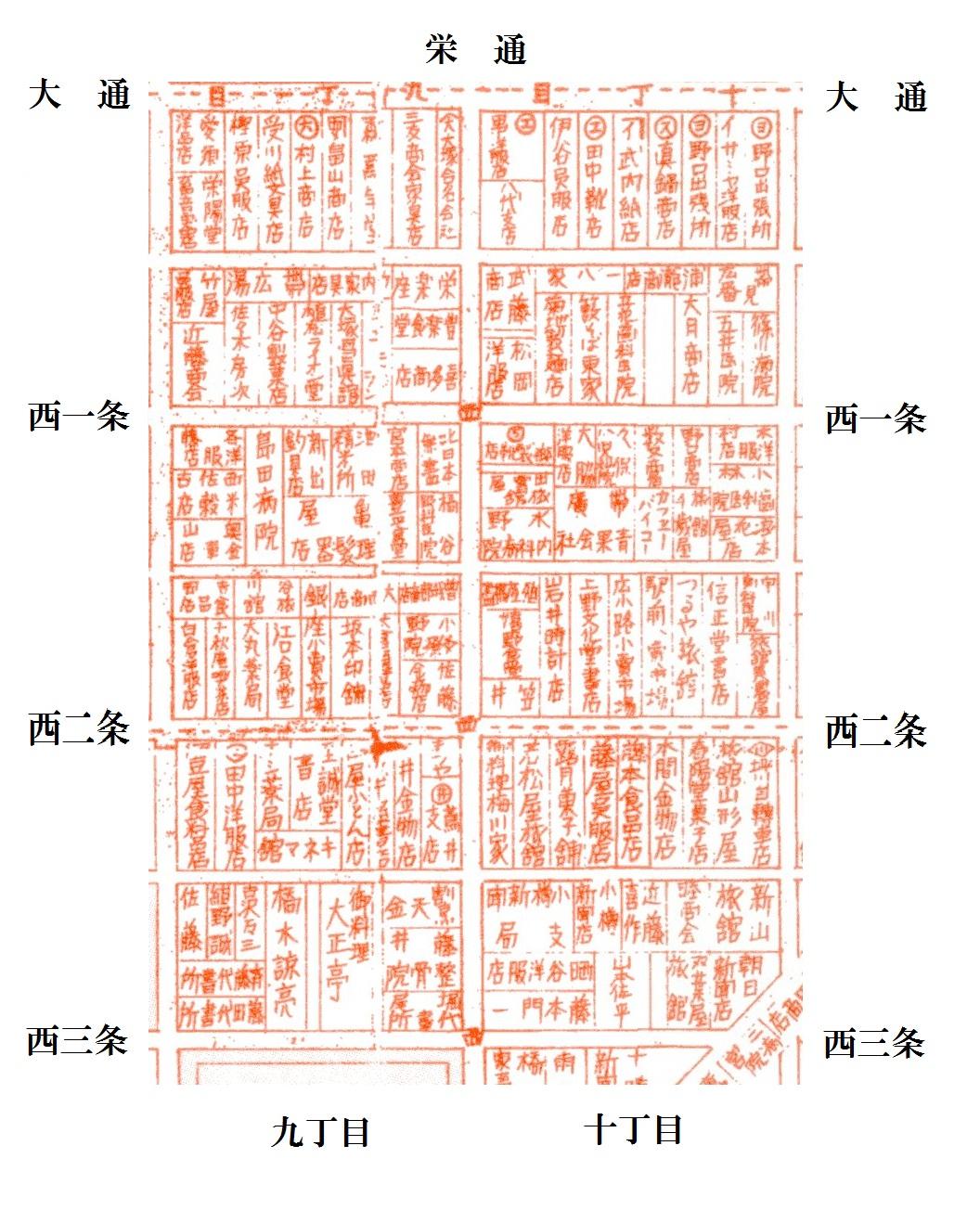 昭和10年5月帯広市(栄通)案内図